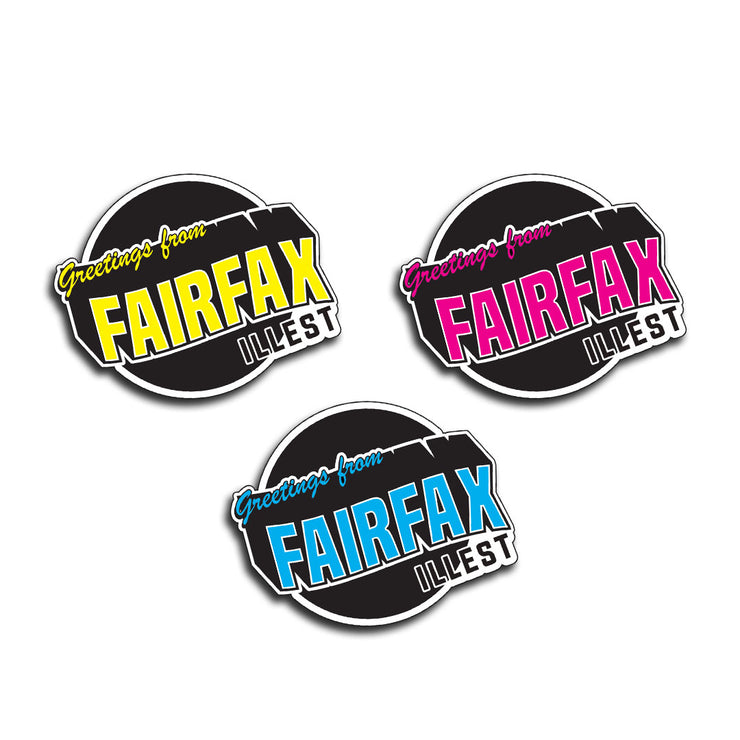 "GREETINGS FROM FAIRFAX 3"" STICKER"