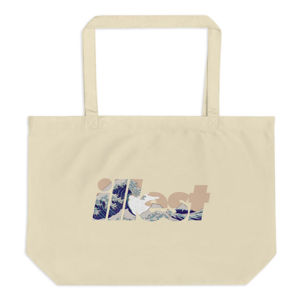 Large Organic Tote Bag - Bold Wave