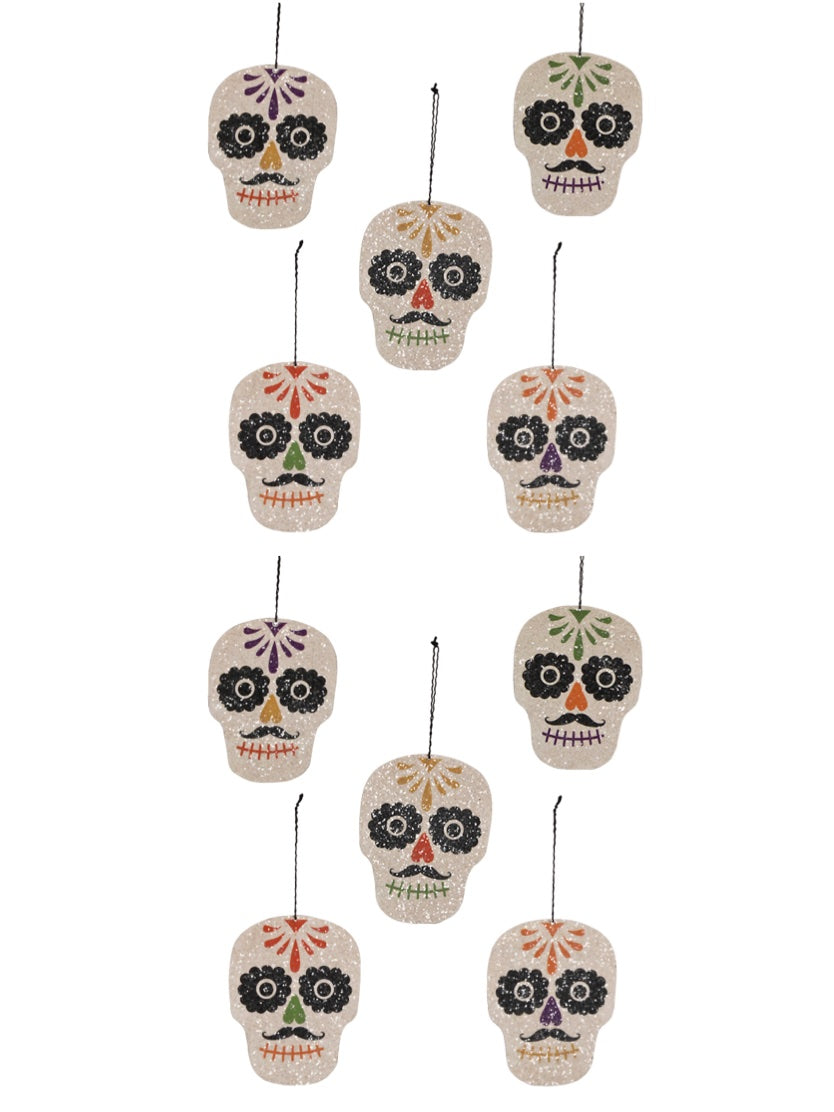 Bethany Lowe Day of the Dead Sugar Skull Ornament Set of 10