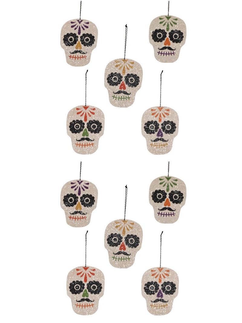 Bethany Lowe Day of the Dead Sugar Skull Ornament Set of 10-Ornament-Oakview Collectibles