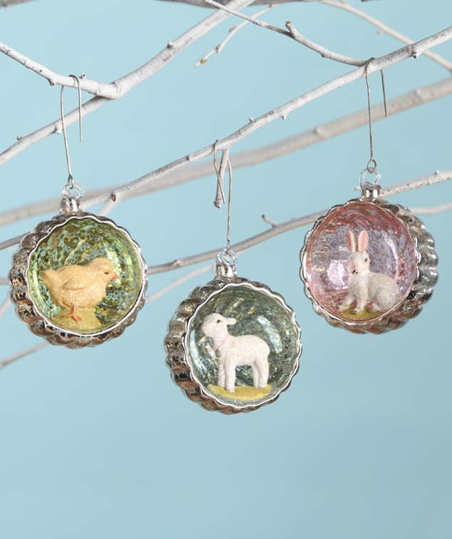 Bethany Lowe Vintage Style Glass Easter Indent Ornament Set of 3-Ornament-Oakview Collectibles