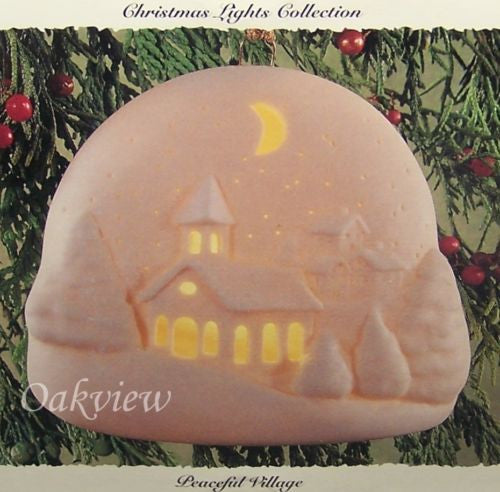 Hallmark 1994 Peaceful Village Christmas Lights Collection Porcelain Ornament-1990-94-Oakview Collectibles
