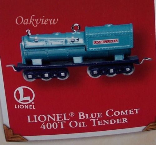 Hallmark 2002 Lionel Blue Comet 400T Oil Tender-Ornament-Oakview Collectibles