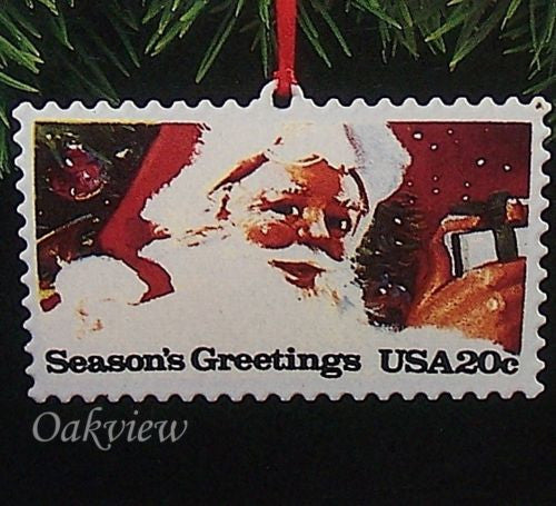 Hallmark 1993 US Christmas Stamps Series #1 NIB-SDB Santa Claus Ornament QX5292-Other-Oakview Collectibles