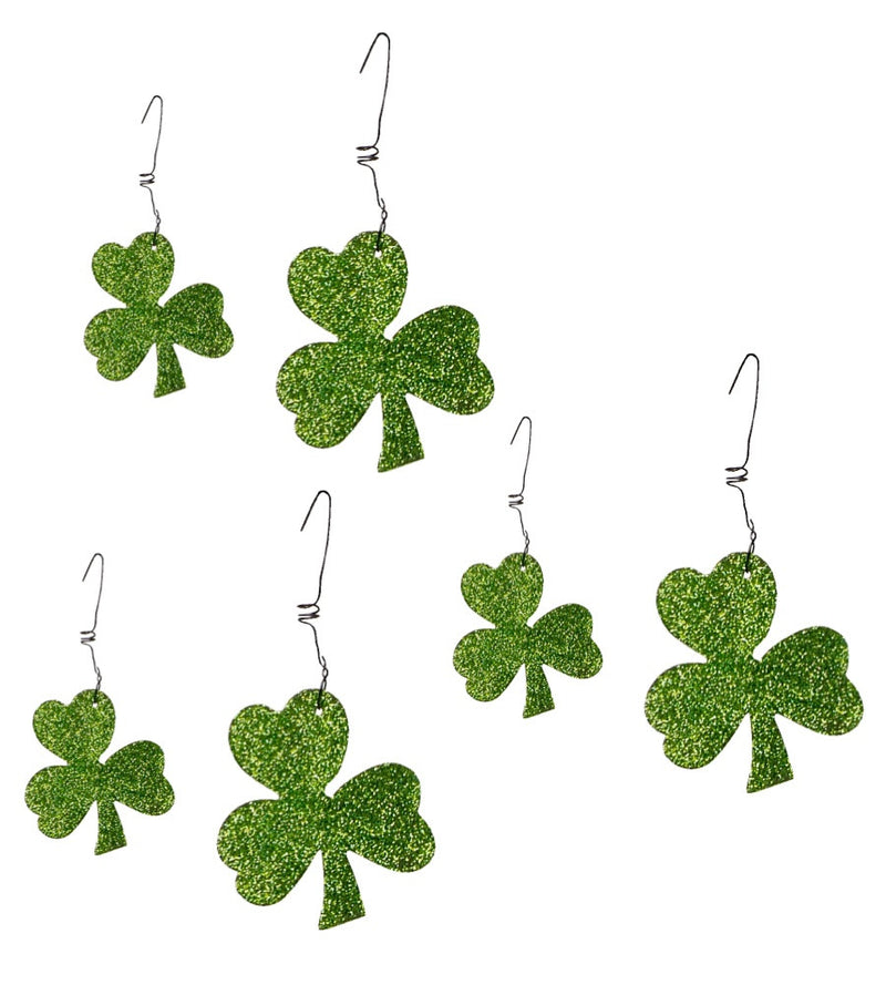 PBK Green Glitter Shamrock Ornaments Boxed Set of 6-Ornament-Oakview Collectibles