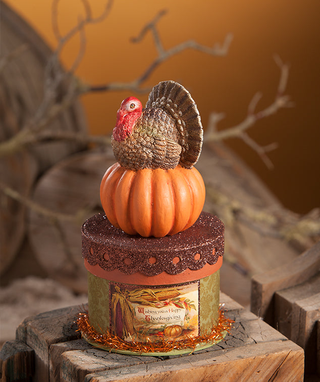 Bethany Lowe Turkey on Box-Figurine-Oakview Collectibles