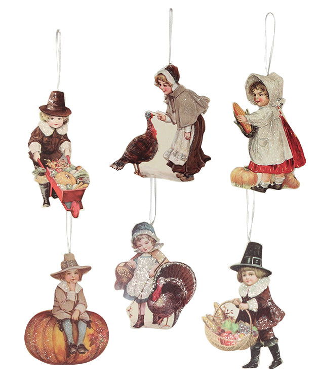 Bethany Lowe Thanksgiving Child Ornament Set of 6-Ornament-Oakview Collectibles