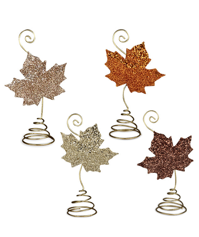 Bethany Lowe Elegant Leaf Place Card Holder Set of 4-Placecard Holder-Oakview Collectibles