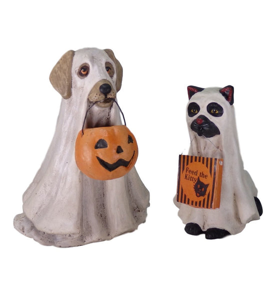 Bethany Lowe Spooky Ghost Dog and Cat Set-Figurine-Oakview Collectibles