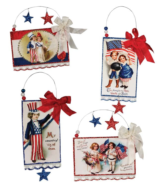 Bethany Lowe Americana Postcard Ornament Set of 4-Ornament-Oakview Collectibles