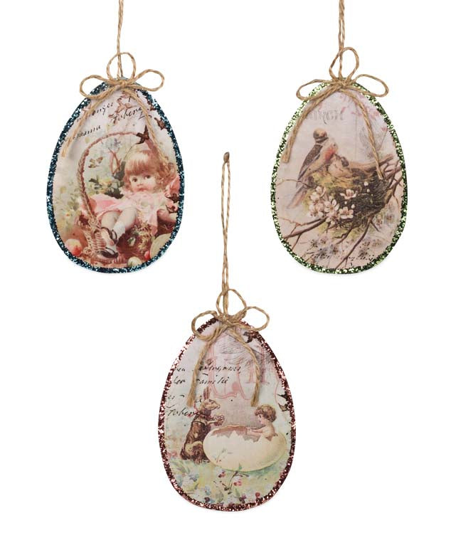 Bethany Lowe Glitter Image Easter Egg Ornament Set of 3-Ornament-Oakview Collectibles