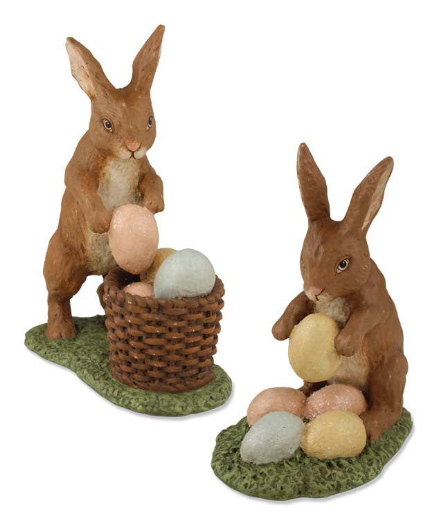 Bethany Lowe Rabbit with Eggs - Set of 2-Figurine-Oakview Collectibles