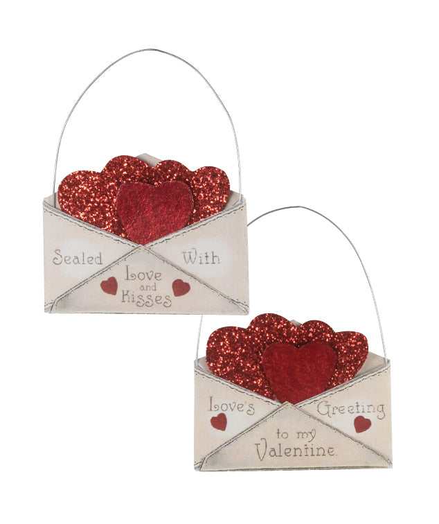 Bethany Lowe Valentine Envelope Ornament Set of 2-Ornament-Oakview Collectibles