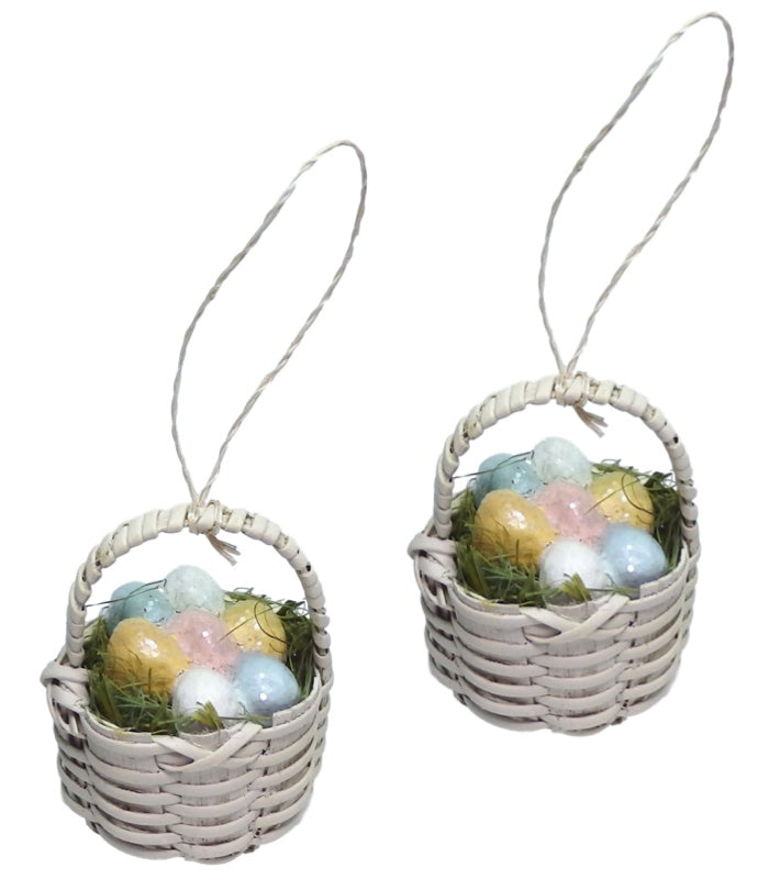 Bethany Lowe Mini Easter Basket Ornament Set of 2-Ornament-Oakview Collectibles