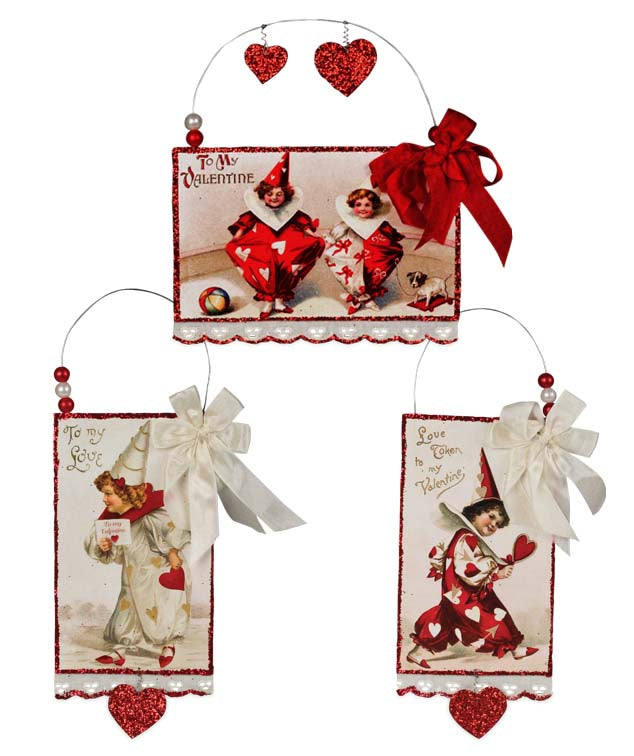Bethany Lowe Valentines Day Postcard Ornaments Set of 3-o-Oakview Collectibles