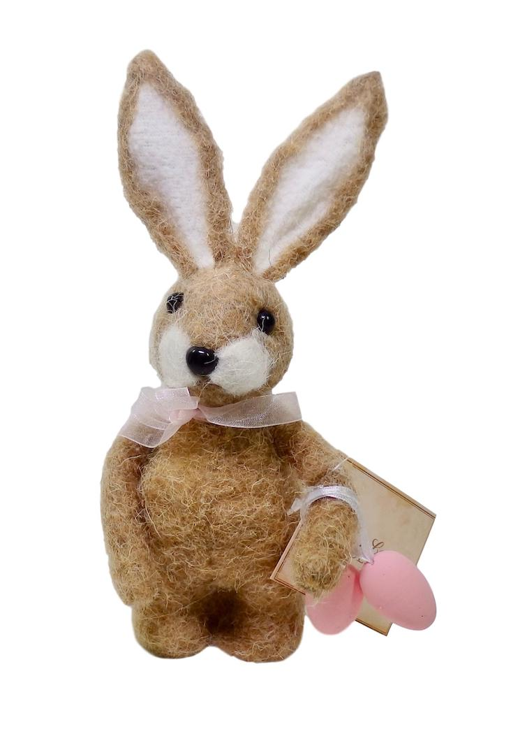 Bethany Lowe Little Miss Brown Bunny with Eggs Felted Wool-Figurine-Oakview Collectibles