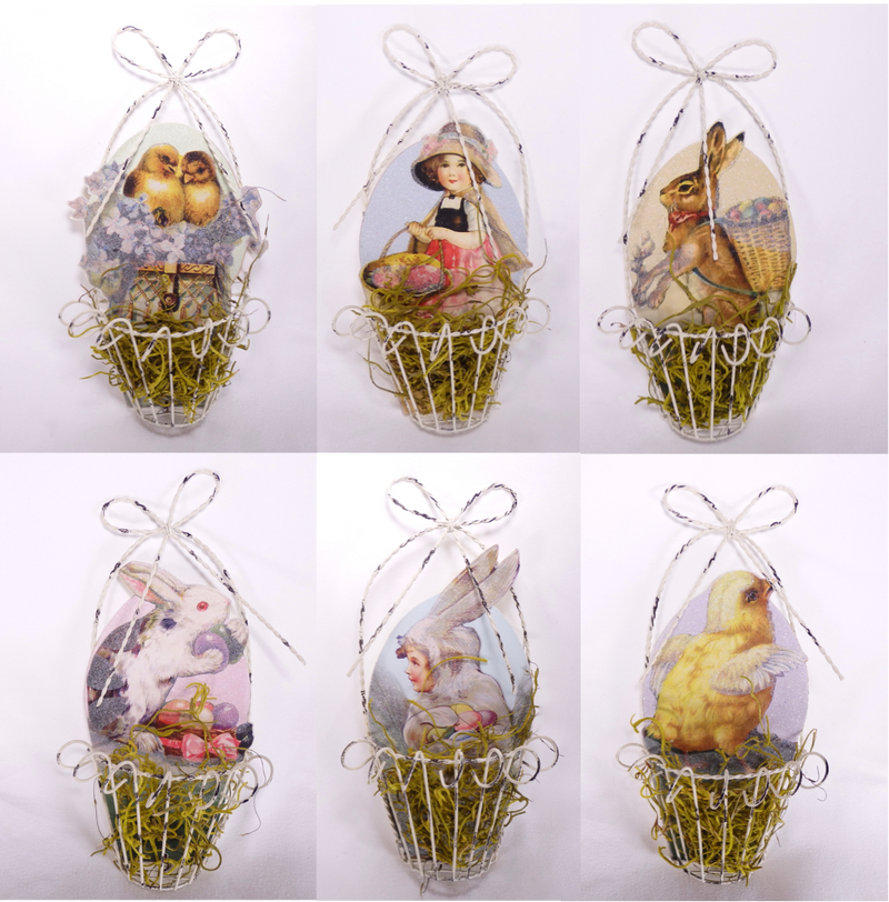 Vintage Style Wire Easter Basket Ornament Set of 6-Ornament-Oakview Collectibles