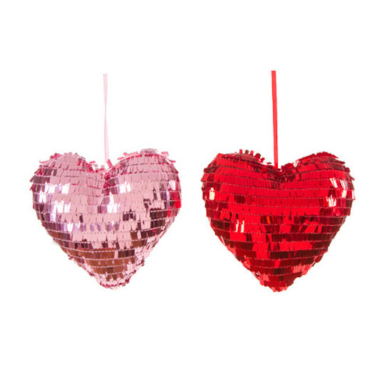 Darice Sequin Heart Ornament Set of 2-Ornament-Oakview Collectibles