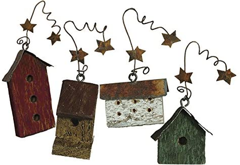 Primtives By Kathy Miniature Birdhouse Ornaments Set of 8-Ornament-Oakview Collectibles