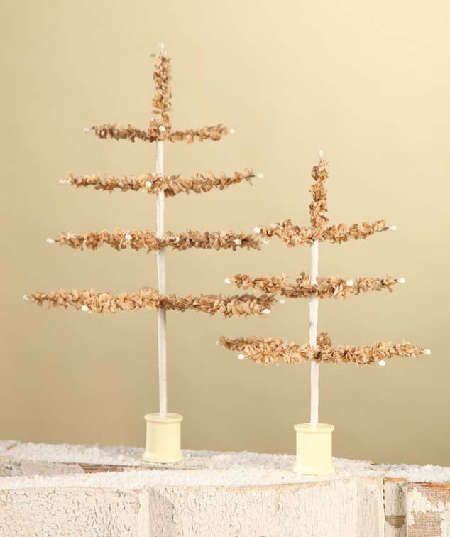 Bethany Lowe Tissue Paper Tree - Tan 12 Inch-Tree-Oakview Collectibles