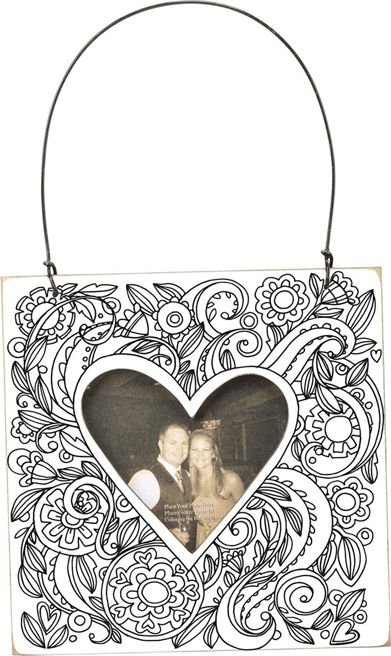 Primitives By Kathy Mini Heart Color Your Own Photo Holder-Ornament-Oakview Collectibles