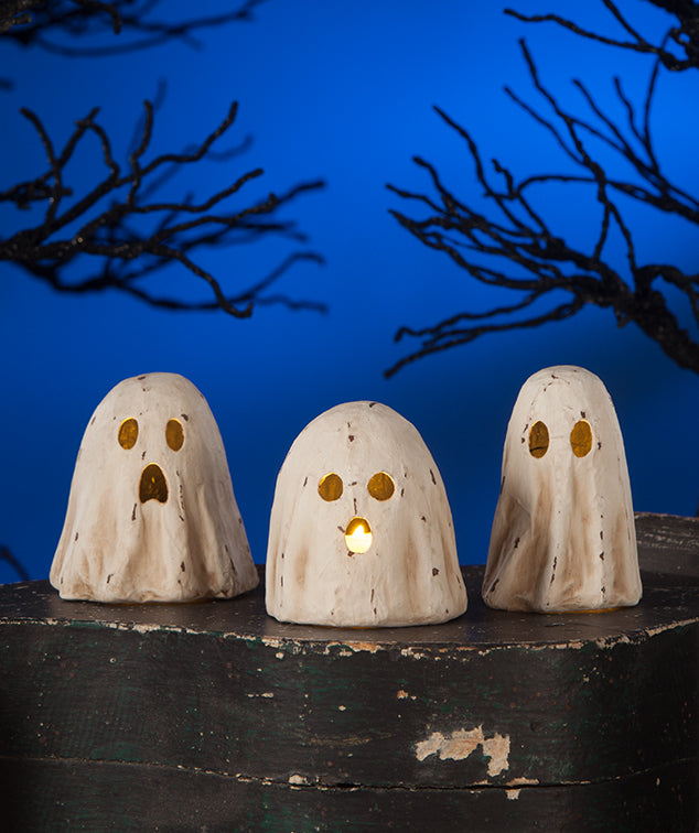 Bethany Lowe Ghoulish Ghost Paper Mache Luminary Set of 3-Candle Decor-Oakview Collectibles