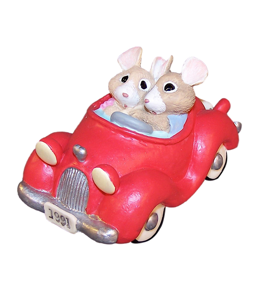 Hallmark Mice In Red Car Tender Touches Figurine-Figurine-Oakview Collectibles