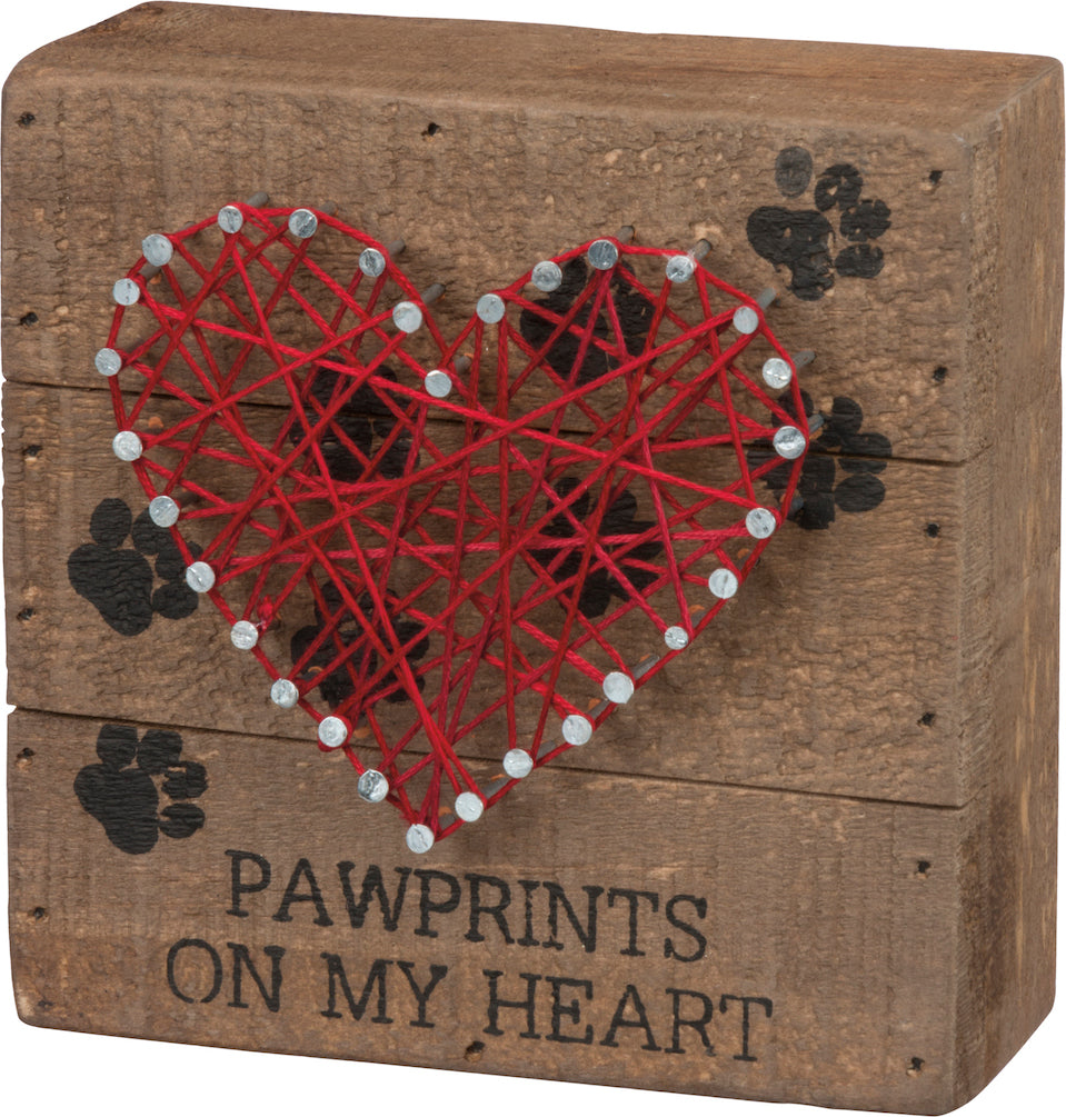 PBK Pawprints On My Heart String Art-Wall Decor-Oakview Collectibles