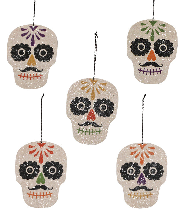 Bethany Lowe Day of the Dead Sugar Skull Ornament Set of 5-Ornament-Oakview Collectibles