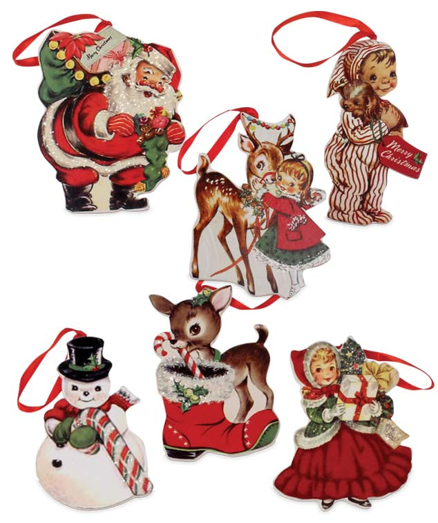 Bethany Lowe Retro Christmas Dummy Board Ornament Set of 6-Ornament-Oakview Collectibles