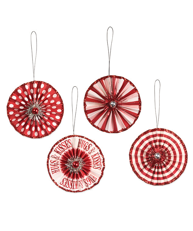 Bethany Lowe Valentine Rosette Ornaments Set of 4-Ornament-Oakview Collectibles