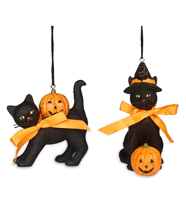 Bethany Lowe Halloween Black Cat Ornament Set of 2-Ornament-Oakview Collectibles