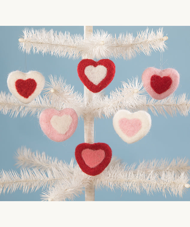 Bethany Lowe Felted Wool Heart Ornament Set of 6-Ornament-Oakview Collectibles