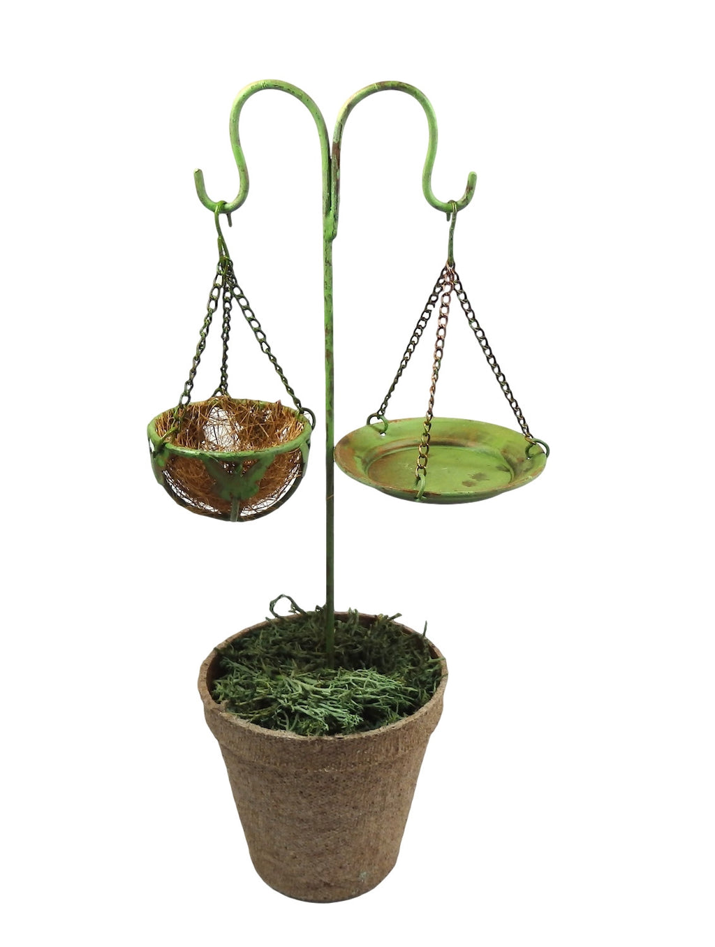 Fairy Garden Double Shepherds Hook, Bird Bath and Butterfly Basket Planter - ...-Fairy Garden-Oakview Collectibles
