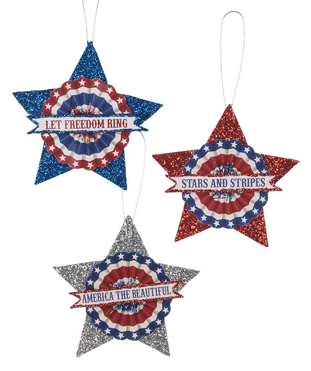 Bethany Lowe Americana Glitter Star Ornament Set of 3-Oakview Collectibles
