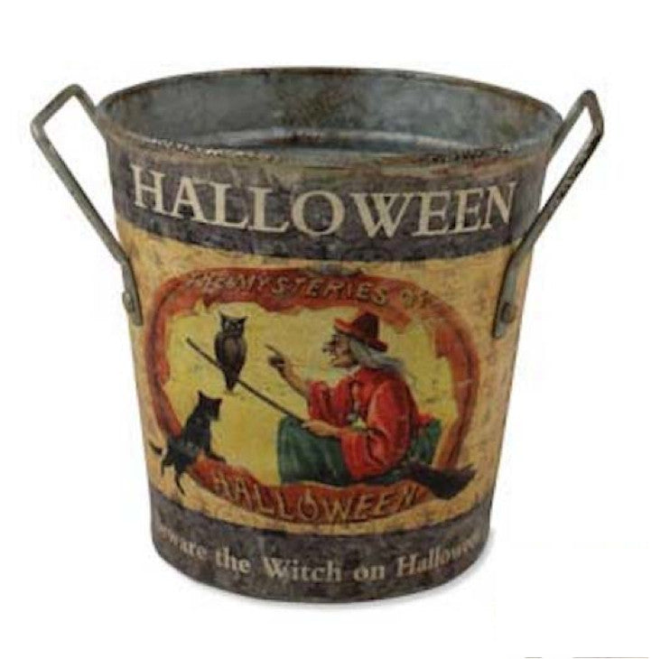 Bethany Lowe Halloween Round Tin Bucket Beware The Witch Vintage Style-Halloween-Oakview Collectibles