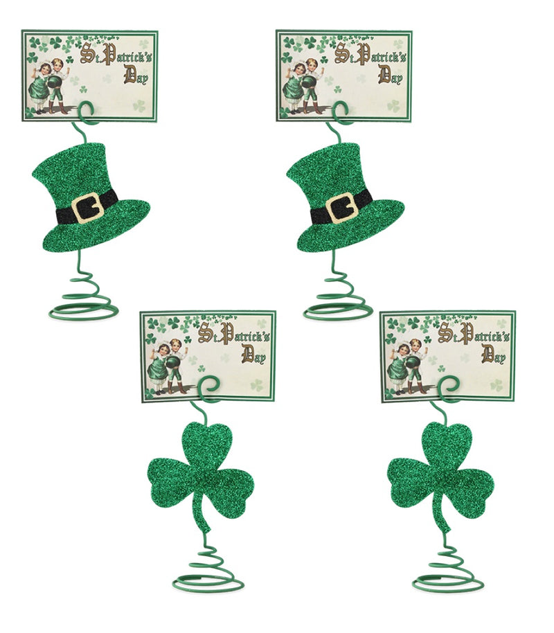 Bethany Lowe Luck O The Irish Card Holder Set of 4-Placecard Holder-Oakview Collectibles