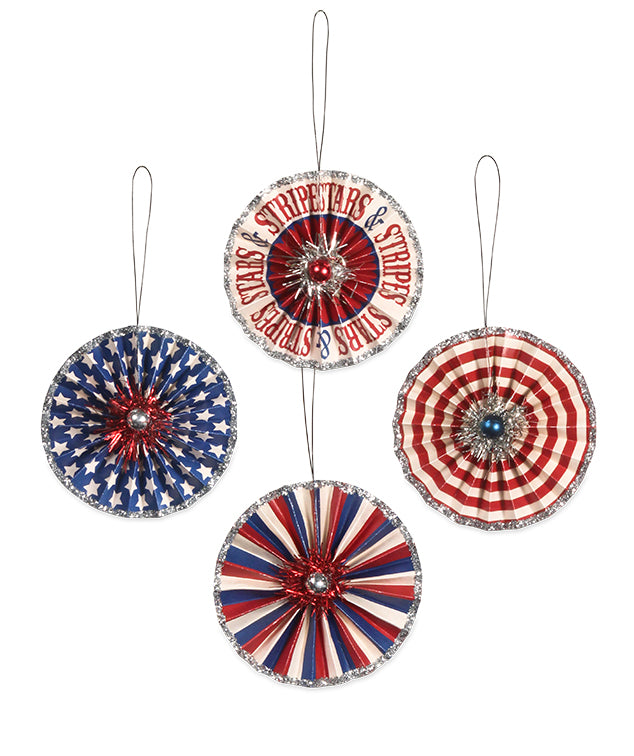 Bethany Lowe Americana Rosette Ornament Set of 4-Ornament-Oakview Collectibles