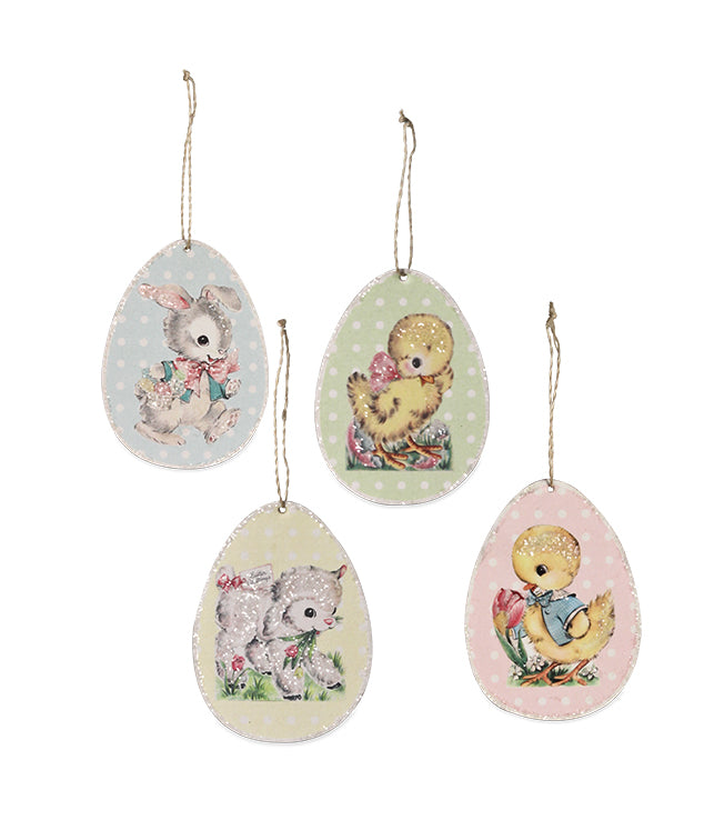 Bethany Lowe Retro Paper Easter Egg Ornament Set of 4-Ornament-Oakview Collectibles