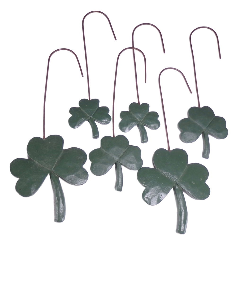 Shamrock Ornament Resin with Metal Hanger Set of 6-Ornament-Oakview Collectibles
