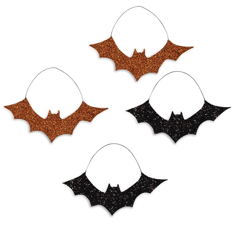 Bethany Lowe Glitter Bat Ornaments Set of 4-Ornament-Oakview Collectibles