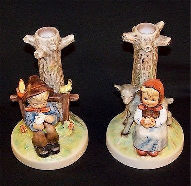 MI Hummel Candle Stick Holders Set She Loves Me and Good Friends HUM678, HUM679-Other-Oakview Collectibles