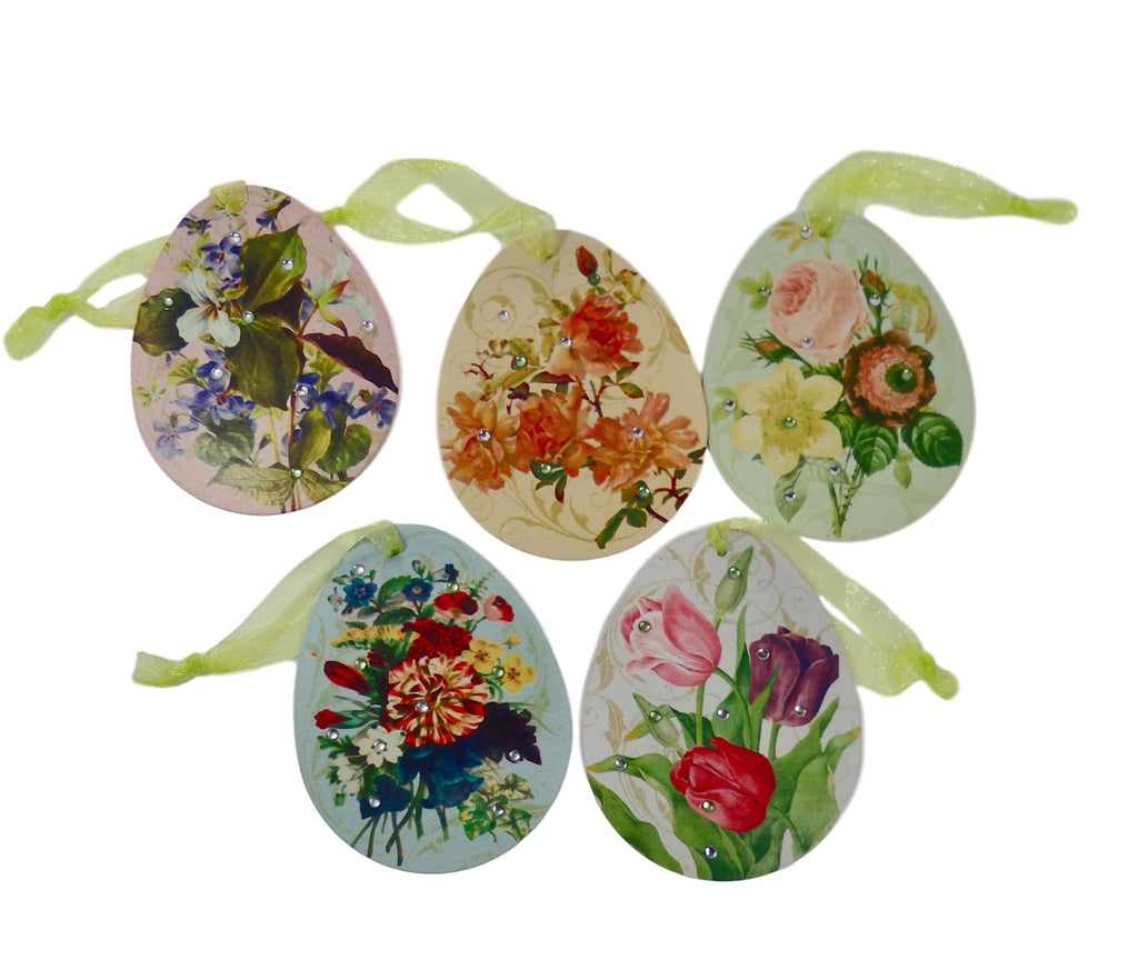 Vintage Easter Egg Floral Ornament Set of 5-Ornament-Oakview Collectibles