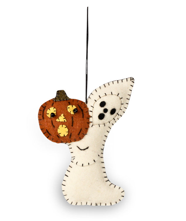 Bethany Lowe Ghost With Pumpkin Fabric Ornament-Ornament-Oakview Collectibles