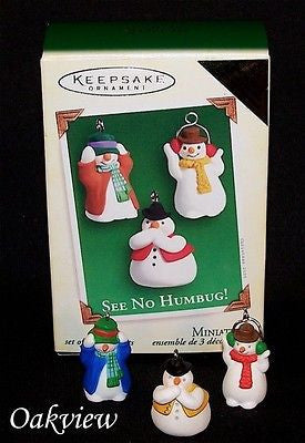 Hallmark 2005 See No Humbug! Snowmen Colorway 3Pc Set Miniature Ornaments-Ornament-Oakview Collectibles