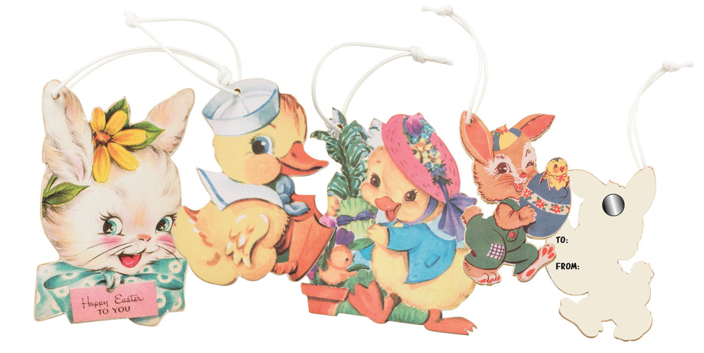 Primitives By Kathy Retro Easter Ornament Gift Tags Set of 4-Ornament-Oakview Collectibles