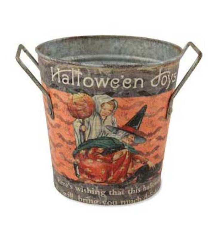 Bethany Lowe Halloween Round Tin Bucket Halloween Joys Vintage Style-Halloween-Oakview Collectibles