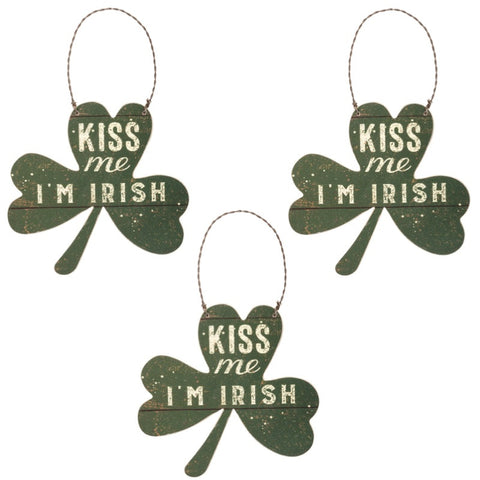 Primitives By Kathy Kiss Me I'm Irish Ornament Set of 3-Ornament-Oakview Collectibles