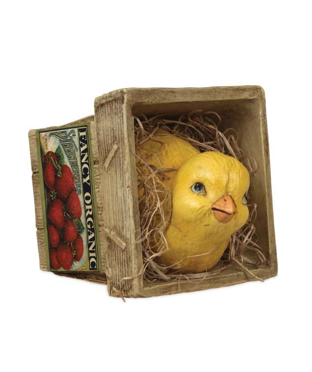 Bethany Lowe Chick in Strawberry Basket-Figurine-Oakview Collectibles