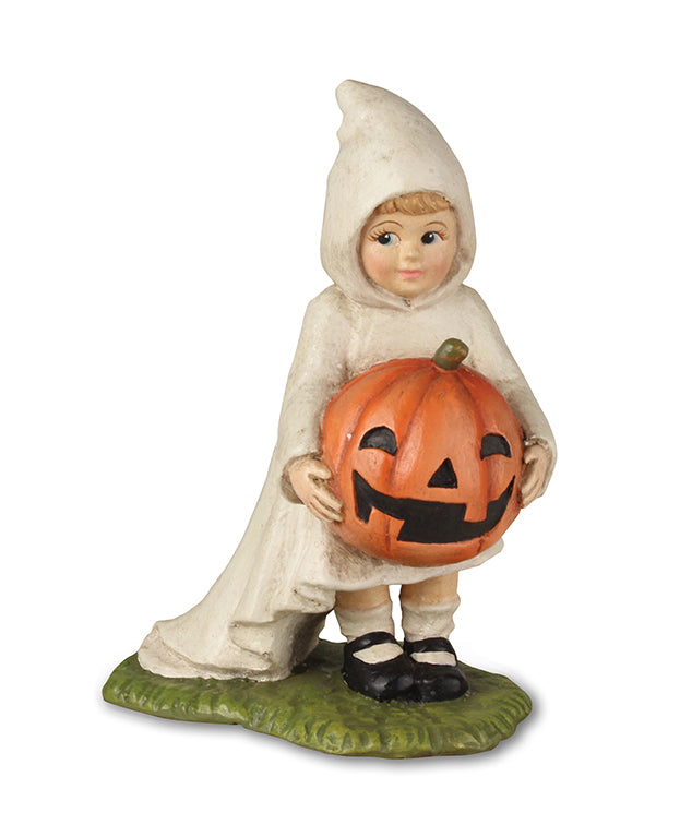 Bethany Lowe Little Ghost Gabby with Pumpkin-Figurine-Oakview Collectibles
